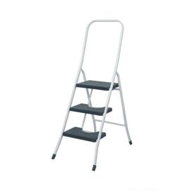 Imagen de Escalera taburete 3 peldaños con barandilla alta