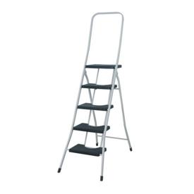 Imagen de Escalera taburete 5 peldaños con barandilla alta